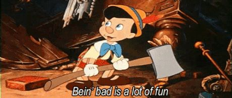 "*PINOCCHIO, 1940.....on Pleasure Island....Pinocchio Tells Lampwick, ""Being bad is alot of fun, ain't it?"""