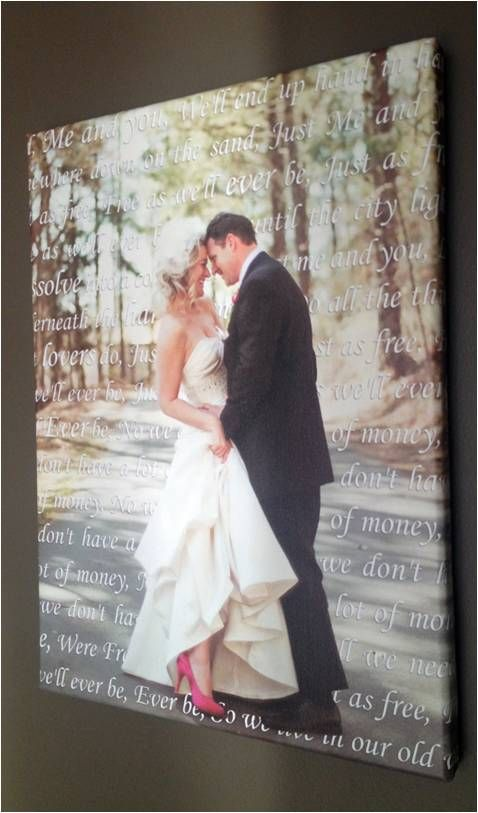 looking for a sweet keepsake? print your wedding vows or song lyrics onto canvas along with your wedding portrait! love this!