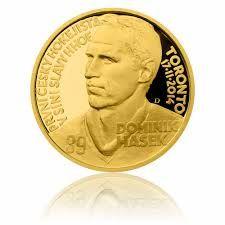 Zlatá půluncová medaile Dominik Hašek proof