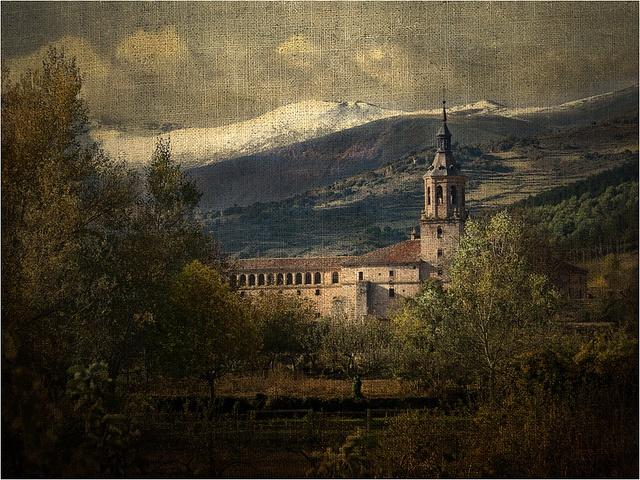 Kuis irisarri | Monasterio de San Millán de Yuso - La Rioja - (Cuna del castellano) | texture + landscape architecture mountains + brown green blue tan rust orange