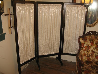 Antique Room Divider 3 Panel Folding Changing Screen Footed Wheels New  Fabric | eBay - 47 Best Antique Furniture--hall Trees, Dressing Screens, Room