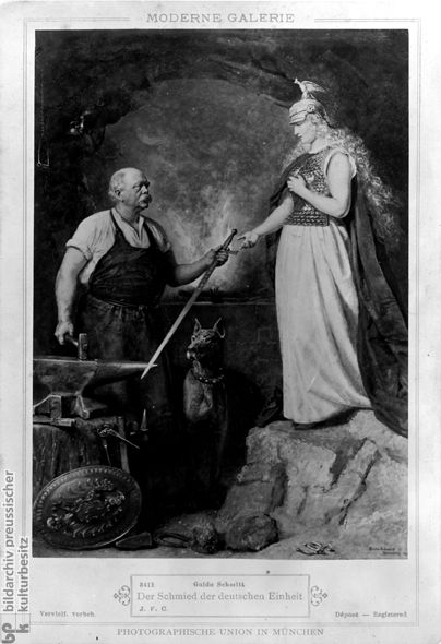 Otto von Bismarck, Forging German Unity (c. 1880) This mass-produced print is entitled The Blacksmith of German Unity [Der Schmied der deutschen Einheit]. It is based on an 1866 painting, since destroyed, by Guido Schmidt (1834-1922). It combines stock elements that appeared in countless allegories celebrating Bismarck's role in German unification – the German chancellor, for example, is dressed up in a blacksmith's apron, and the figure of Germania is clad in armor.