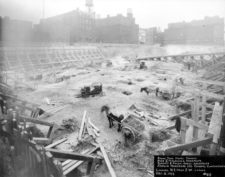 The construction of the Royal York hotel begins, under the direction of architects Ross and MacDonald, 1927.