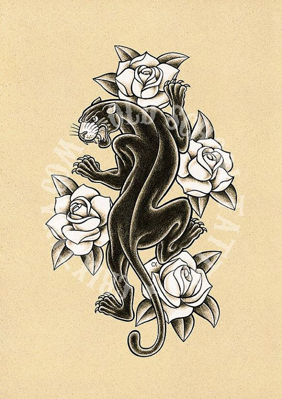T14. BLACK PANTHER. Tattoo illustration Art tattoo por Retrocrix