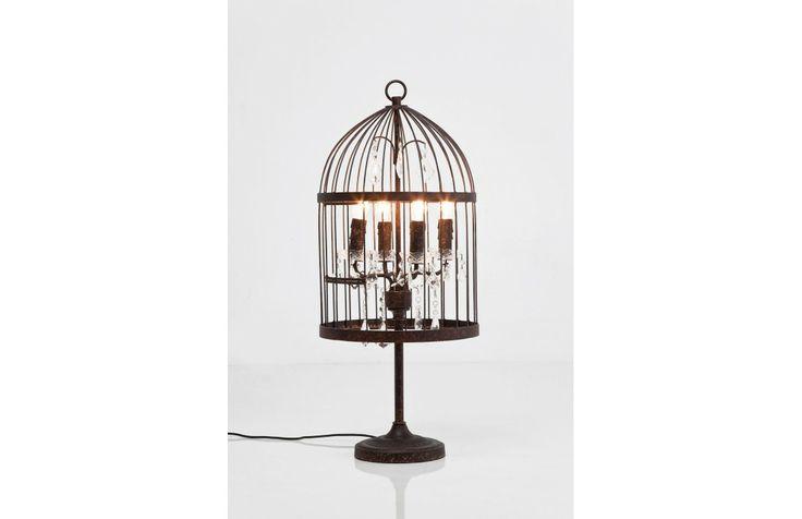 Elegante lampada da tavolo in forma di gabbia per uccelli. La finitura anticata color ruggine, i cristalli glamour e i 4 punti luce ne fanno un oggetto di tendenza.  www.deconlinestore.com/index.php?route=product/product&path=139_159&product_id=1513