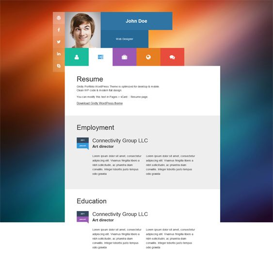 16 best 16 More of the Best vCard, CV, \ Resume WordPress Themes - wordpress resume template