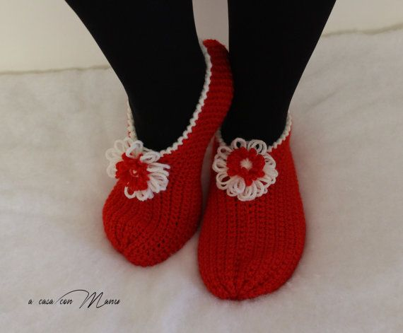 Pantofole rosse di lana red slippers wool slippers di Acasaconmanu