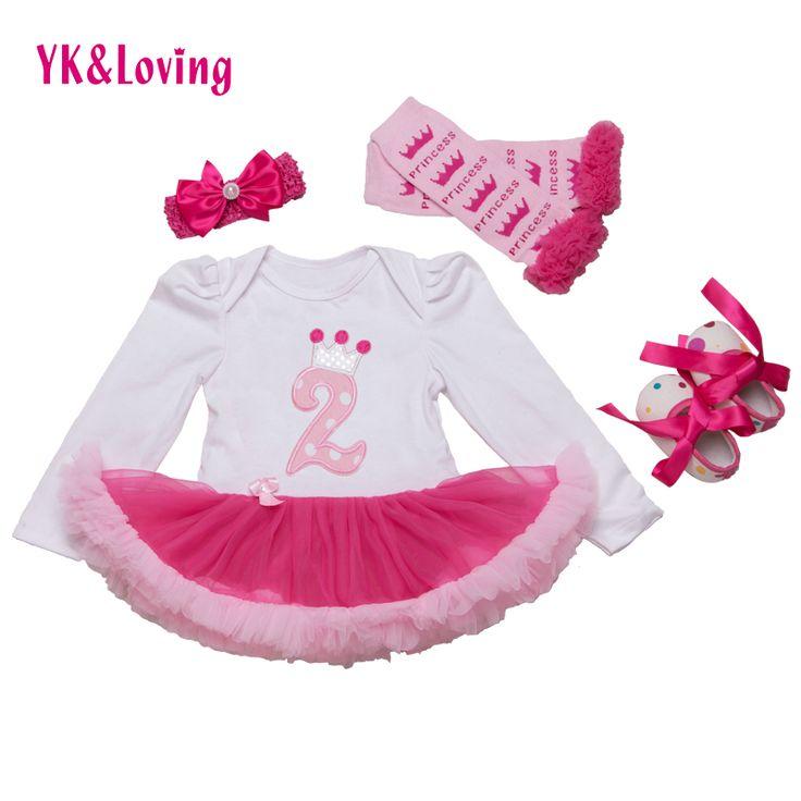 Urodziny koronki tutu romper ubranka dla dzieci dziewczyny księżniczka party dress długi rękaw bawełna pałąk buty legginsy ciasto najlepsze prezenty