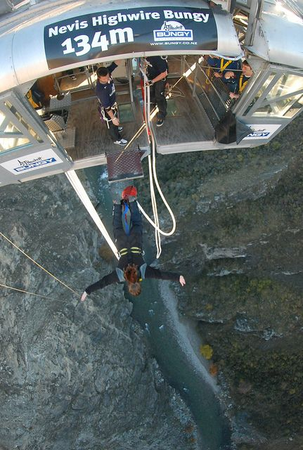 Nevis bungee jump in Queenstown, New Zealand. 134m drop with 6 seconds of free fall.