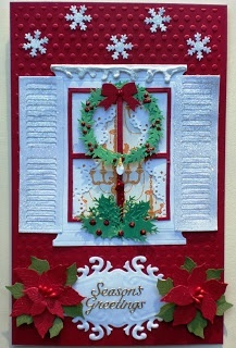 Christmas card ... window decorated with wreath and holly ... delightful!!!