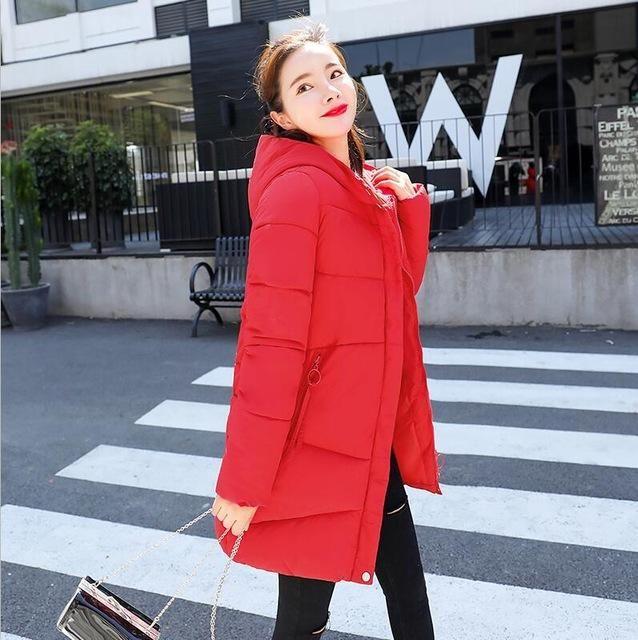 2018 wadded jacket female winter jacket women down cotton jacket slim parkas ladies winter coat plus size S-X Red XXL 2