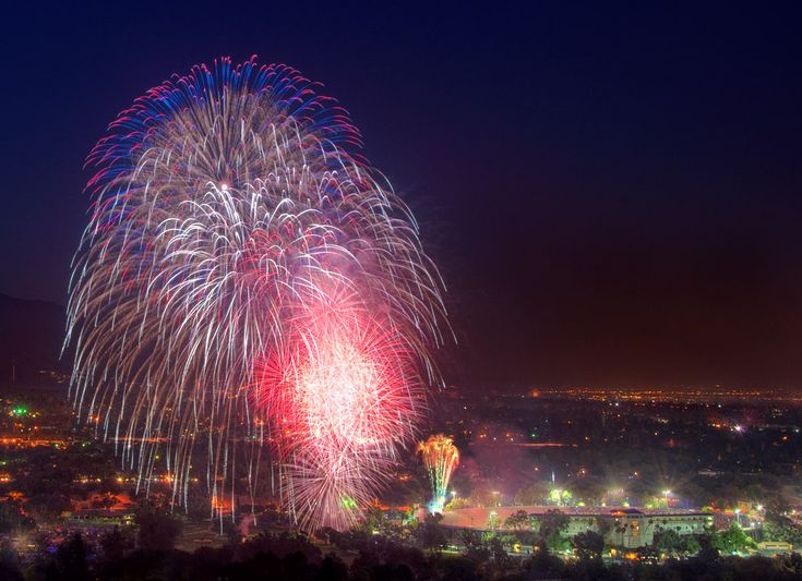 https://flic.kr/p/8gieKa | Illuminated | As a followup to yesterday's fireworks photograph, here's another image from the 2010 Rose Bowl independence day fireworks.  This time I've combined a photograph from the fireworks show with several photographs taken before the show started (in fact, before the stadium lights were even off) to bring out detail from the stadium and the surrounding terrain.  Featured in the Polish fotoblogia.pl photography blog.