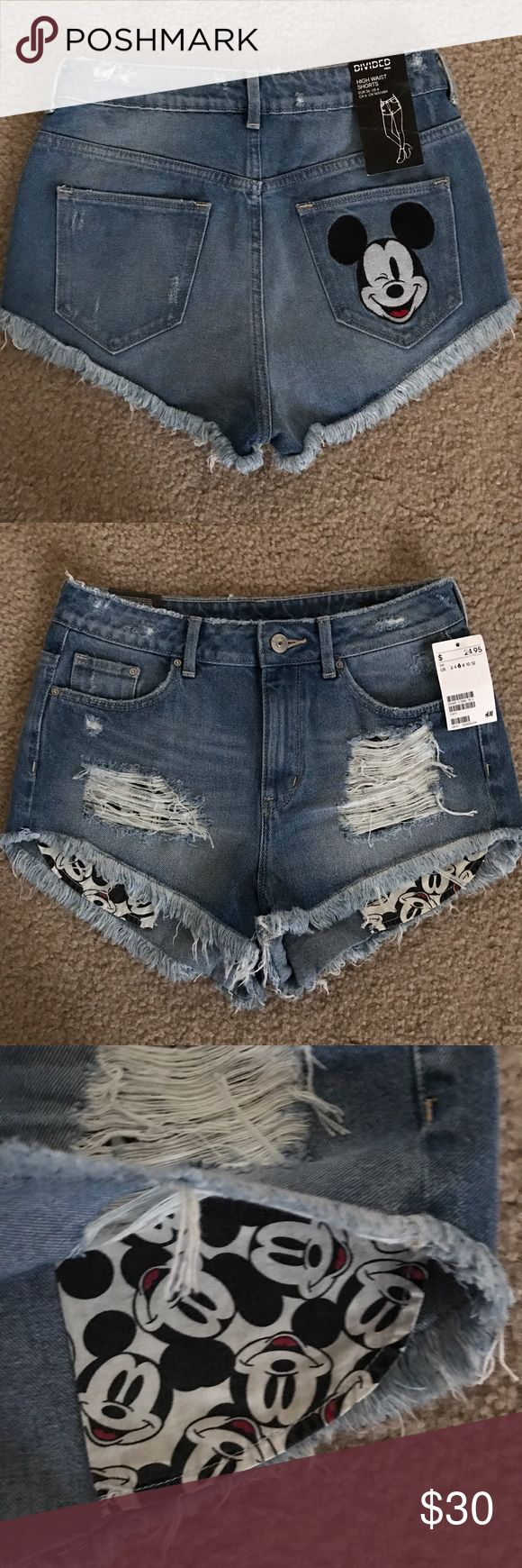 H&M Divided High Waisted Mickey Mouse Jean Shorts Size 6. New with tags. No trades H&M Shorts Jean Shorts