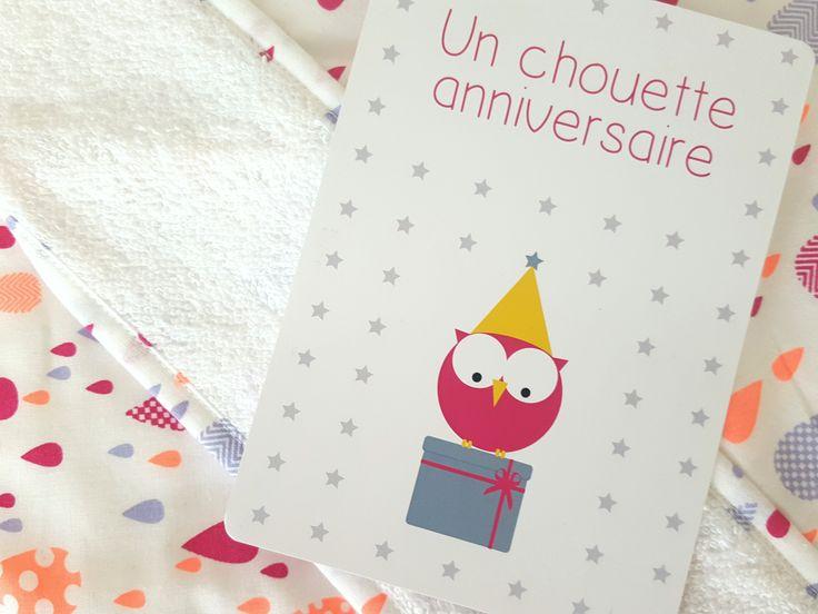 Carte d'anniversaire enfant chouette rose | Pigment des Belettes
