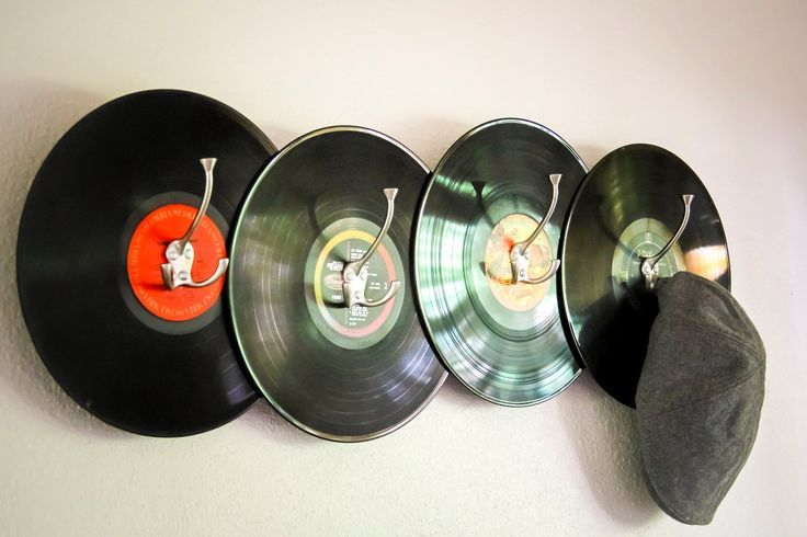 Record Coat Rack.  Great gift idea for a record collector in your life!