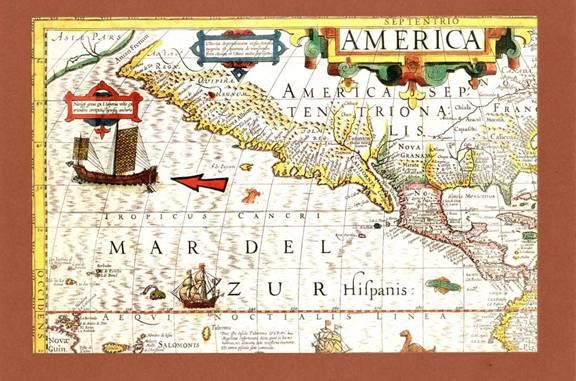 """Hondius map1606, the area was not well known to the Europeans at the time, it shows the strait & South Sea of China extending to the Americas. """"Calm Sea"""" was a name used by the Chinese to mean the Chile Peru sea. but later European map makers used the name Pacific to mean the whole Ocean, which is violent most of the time,  once again proved Chinese seafarers had been there to know the specifics.  North Sea is a name used by the Chinese to mean the sea from U.S.Canada East coast to Brazil…"""
