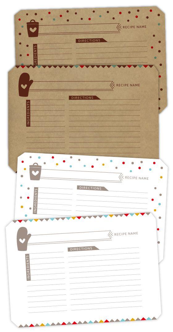 Imprimibles para recetas >> recipe cards