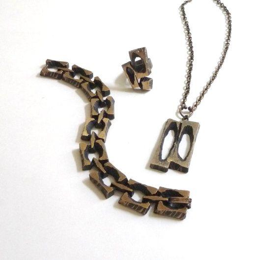 Modern Scandinavian Bronze Jewelry Set by Sten and Laine