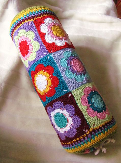 """Colourful Bolster by Barbara Wilder from """"Granny Squares"""" by Barbara Wilder et al."""