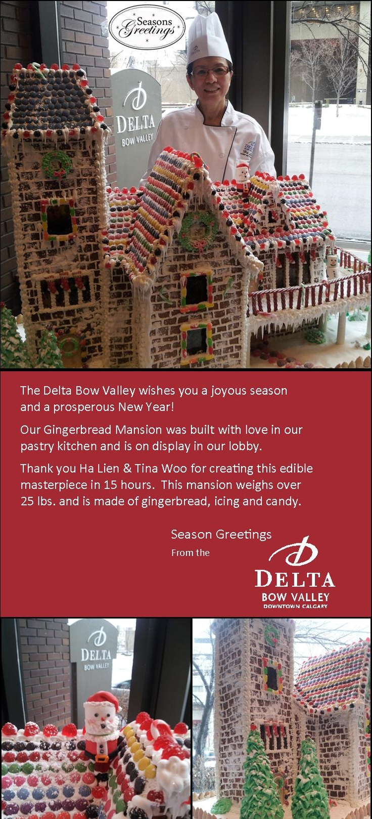 Amazing! Gingerbread Mansion built by our in-house pastry team #DeltaBowValley