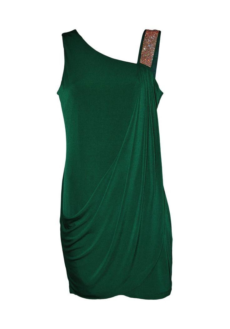 99 €   Con aires romanos este vestido destaca por su versatilidad en eventos de día y de noche   Vestido corto de licra, escote asimétrico   ENEEFE Online  #moda #mujer #vestidos #fiesta