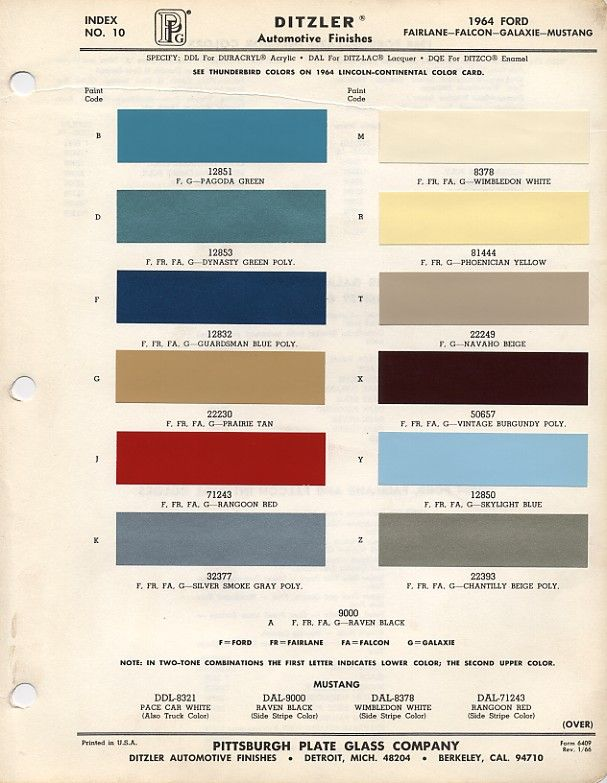 Ford Exterior Paint Codes Part - 49: 1964 Ford Mustang Color Chart With Paint Mixing Codes