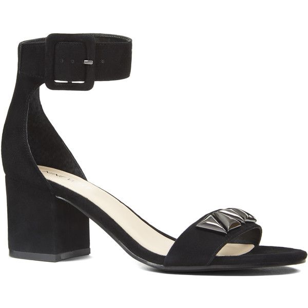 Nine West Iyna Ankle Strap Sandals ($99) ❤ liked on Polyvore featuring shoes, sandals, black suede, metallic strappy sandals, black strappy shoes, black shoes, adjustable strap sandals and black strappy sandals