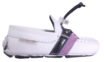 UNISEX GIFTS - BABYWALKER WHITE LOAFER WITH BLUE AND PURPLE STRIPES FOR BOYS/GIRLS