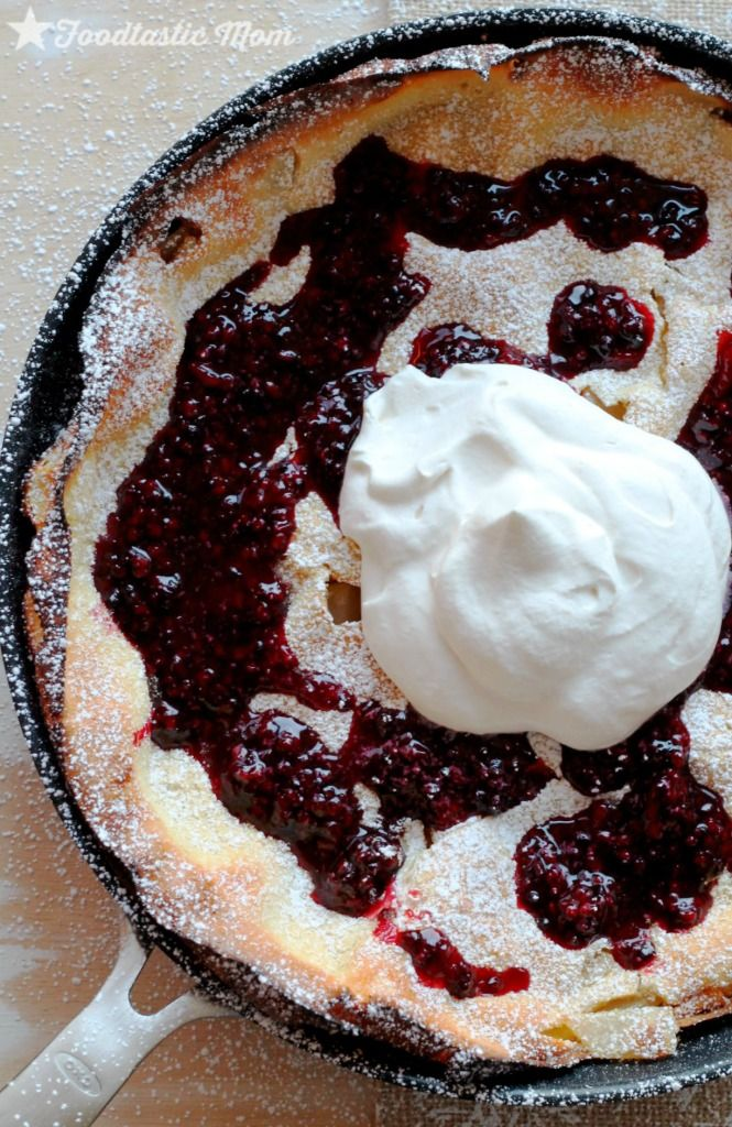 Asian Pear Dutch Baby with Blackberry Syrup by Foodtastic Mom #oxocookware Also known as German Pancakes