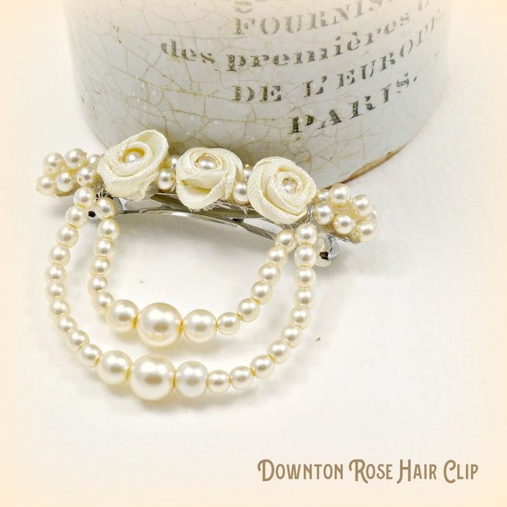 Bridal Hair Clip Ribbon Rose