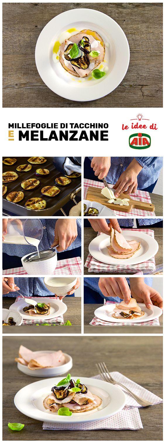 La nostra millefoglie di tacchino e melanzane nasconde una salsa a sorpresa... e anche il gusto vi lascerà sorpresi!    #LeIdeediAIA #AIA #cucina #cucinare #food #foodie #eat #ricette #ricetta #recipe #recipes #tacchino #piatti #antipasti