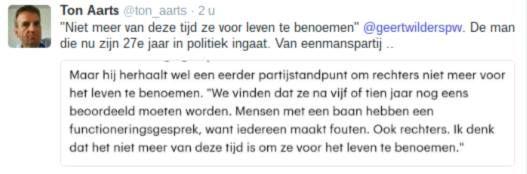 Wilders na 27 jaar Kamer: Rechters niet voor leven benoemen  De man die niet tot de elite behoort. Niet een rechtse minderheidscoalitie gedoogde en helemaal niet zo lang in de Kamer zit (27 jaar maar) wil dat rechters niet meer voor het leven benoemd worden.   Echt schattig ware het niet dat 20% van de Nederlanders wel op hem wil stemmen. En daarmee ben je de grootste van alle kleintjes en dus ben je dan een beetje de baas. Althans volgens ervaren en hoogopgeleide journalisten die naar het…