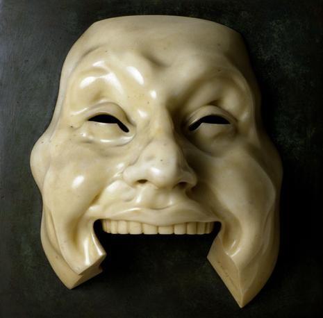 """Adolfo Wildt  Maschera dell'idiota (Idiot Mask) 1910  Marmo, cm. 28x22x15  Gardone Riviera, Fondazione """"Il Vittoriale degli Italiani"""""""