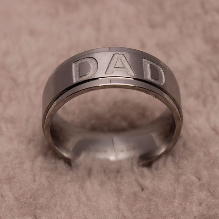New Arrive Stainless Steel DAD Ring Engraved Love You Dad Mens Ring Jewelry Best Gift For Father Father's Day Present
