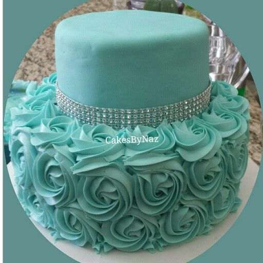 Tiffany Blue rosette cake