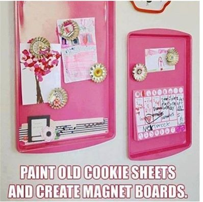LOVE this idea. Gather up some old cookie sheets (or get some cheap at a garage sale) to make magnetic boards! Paint them any color you like to match whatever room you want to put them in. Much safer in a kids room or playroom than using a bulletin board and thumbtacks or pushpins.   ✽¸.••.¸✽✽¸.••.¸✽✽¸.••.¸✽✽¸.••.¸✽  For more great tips, DIYs, recipes and motivation, join us at---> https://www.facebook.com/groups/weightloss4ubydonna/