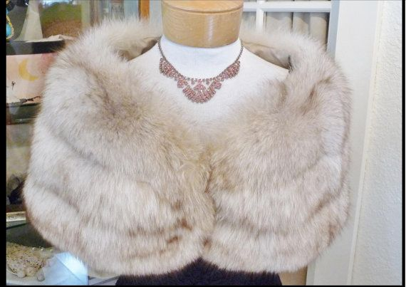 Vintage 1950s Luxurious Arctic Fox Fur Stole Old Hollywood Glamour Wrap Jacket Shrug Shawl Wedding Formal Evening Coat Jacket by TheVaultVintage