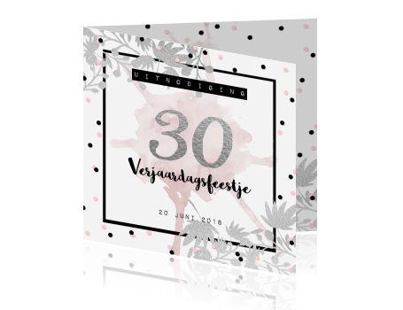 Uitnodiging 30e verjaardag botanical chique zilver