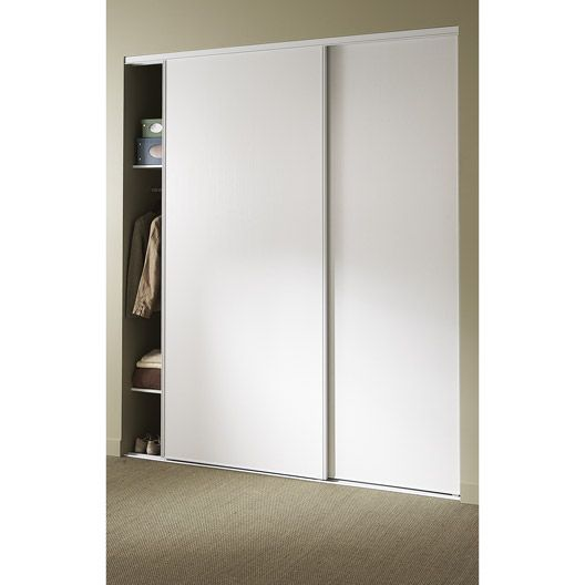 Porte de placard coulissante l210xh250 cm blanc rangement dressing magasin leroy merlin for Comamenagement placard leroy merlin