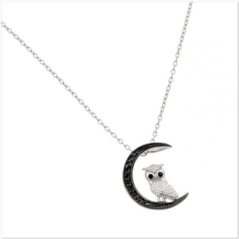 Owl on black moon sterling silver necklace / N1124 – Jcrosswear