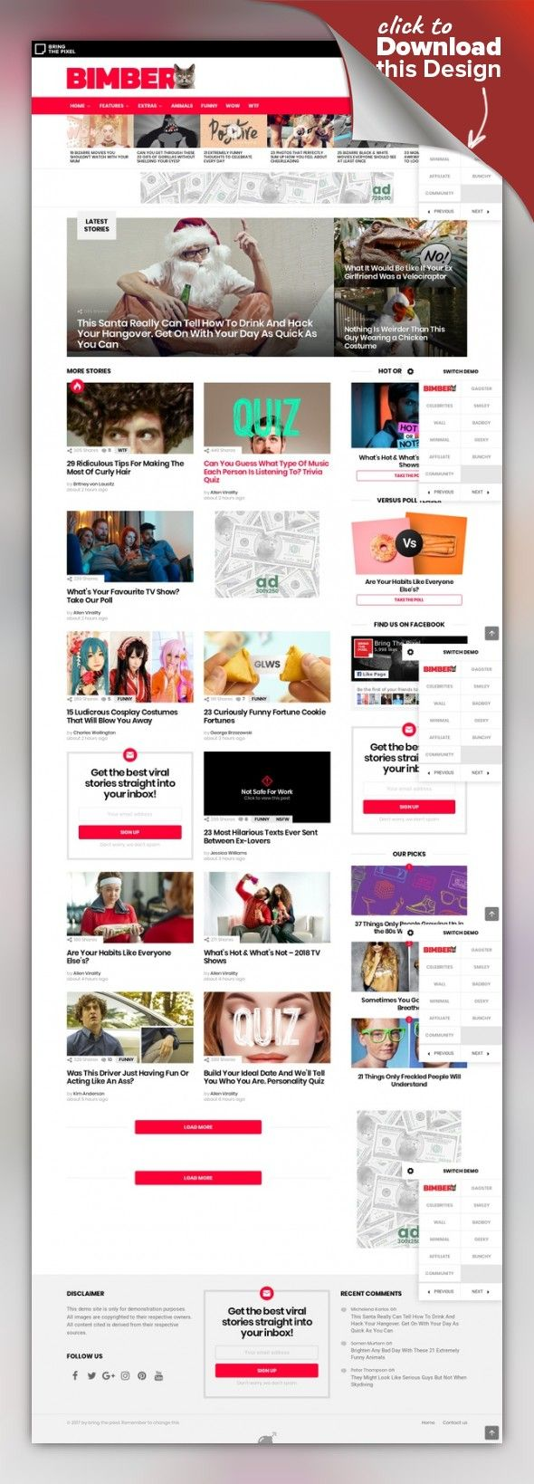 Bimber - Viral Magazine WordPress Theme 9gag, buzz, buzzfeed, celebrity, gossip, share buttons, sharing, social sharing, viral, viral blog, viral content, viral lists, viral magazine, viral news, viral theme Bimber is a viral magazine theme, that lets you launch a fully functional viral site in no more than 24 hours. It comes with powerful sharing buttons; popular, hot, trending listings and multiple ad locations. Everything in a lightweight and ...