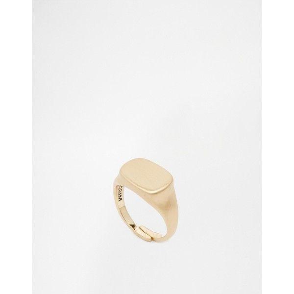 Pilgrim Signet Ring ($40) ❤ liked on Polyvore featuring jewelry, rings, gold, signet ring, pilgrim ring, pilgrim jewellery and pilgrim jewelry