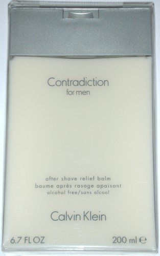 CONTRADICTION By Calvin Klein For Men AFTER SHAVE BALM 6.7 OZ by Calvin Klein. $34.99. Launched By The Design House Of Calvin Klein In 1998, Contradiction Is Classified As A Refreshing, Spicy, Lavender, Amber Fragrance.. The After Shave Balm fragrance is original and 100% authentic.. This Masculine Scent Possesses A Blend Of Lime, Leaves, Sage, Nutmeg, Vetiver And Sandalwood.. Launched by the design house of Calvin Klein in 1998, CONTRADICTION by Calvin Klein is classifi...