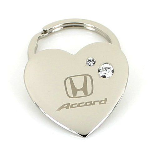 Honda Accord Heart Shape Keychain W/2 Swarovski Crystals