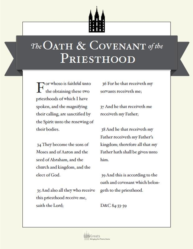 Punchy image regarding oath and covenant of the priesthood printable