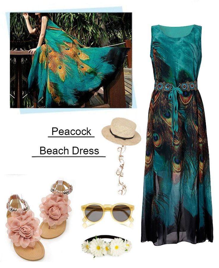 Bohemian Peacock Printed DressBohemian Peacock Printed Dress