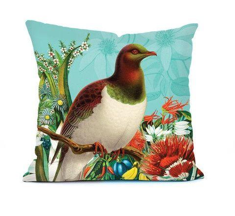 Botanical Bird Cushions - New Zealand Native Wood Pigeon (Kereru)