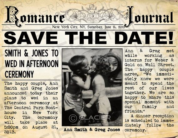 Save The Date Postcard Vintage Newspaper Announcement Rustic Wedding