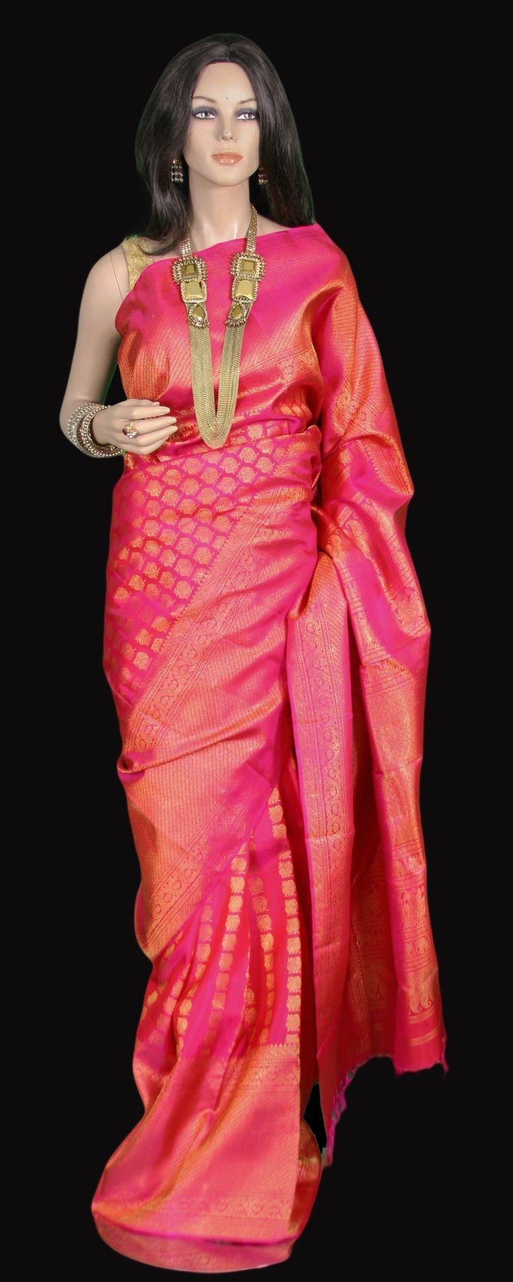 Magenta Pink Traditional Kanjeevaram Saree