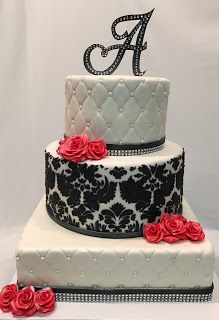 MyMoniCakes: 3 tiered quilted pattern and damask cake with fond...